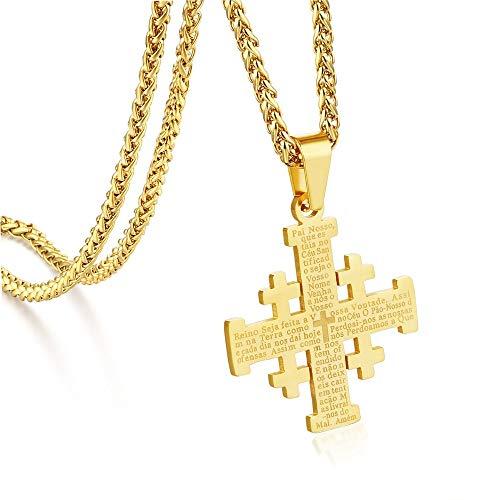 VAWAA Medieval Religioso Joyería Regalo Jerusalén Cruz Colgante Collares para Mujeres Hombres De Acero Inoxidable Declaración Cadenas