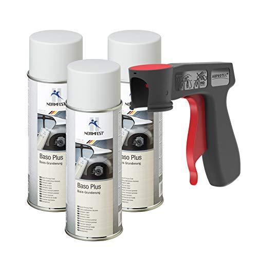 AUPROTEC Grundierung Haftgrund Füller Baso+ Lack Rostschutzgrundierung Spray grau 3X 400ml + 1x Original Pistolengriff
