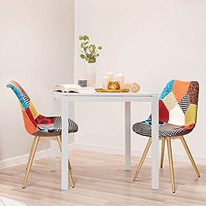 DESIGN TRENDY: La sedia patchwork scandinava disponibile in diversi colori, motivi o trame è una tendenza abbastanza recente, che si adatterà all'atmosfera che si desidera creare. STILE E COMFORT IN UNA VOLTA: Grazie al rivestimento in tessuto patchw...