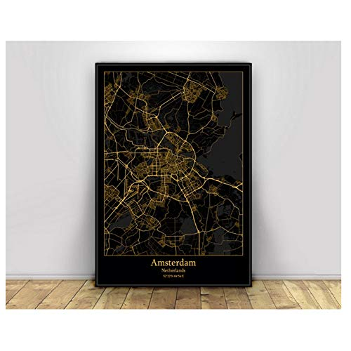 Nederland Black & Gold City Light Maps Custom World City Map Posters Canvas Prints Nordic Style Wall Art-40X60cm zonder lijst