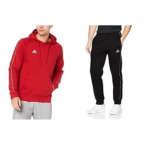 adidas Core 18 HDE, Felpa con Cappuccio Uomo, Rosso (Power Red/White), L & Core 18 S TSB, Pantaloni Uomo, Nero (Black/White), L