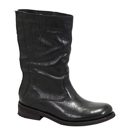 Felmini - Damen Schuhe - Verlieben GREDO 1012 - Cowboy & Biker Stiefel - Echtes Leder - Schwarz - 37 EU Size
