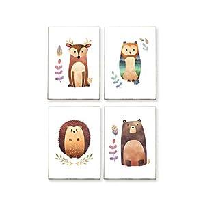 4 x DIN A4 – BILDER SET : WALDFREUNDE -ungerahmt- Tiere, Hirsch, Waschbär, Igel, Eule, skandinavisch, Kinderzimmer