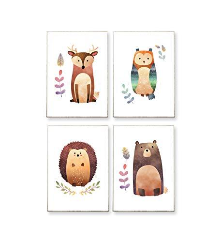4 x DIN A4 - BILDER SET : WALDFREUNDE -ungerahmt- Tiere, Hirsch, Waschbär, Igel, Eule, skandinavisch, Kinderzimmer