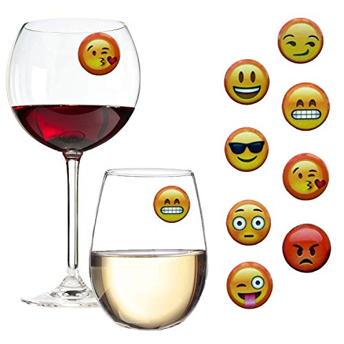 Emoji Wine Charms Magnetic Glass Markers Set of 8