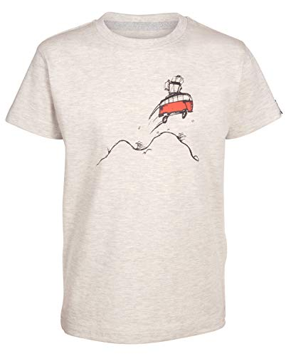 Elkline Kinder T-Shirt Highjump mit VW Bulli Siebdruck, Farbe:lightgreymelange, Größe:128/134
