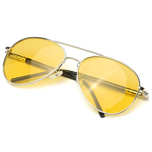 SODQW Gafas De Visión Nocturna Hombres Gafas De Sol Deportes Polarizado para Conduccion 100% UVA & UVB Protección (Marco Plateado Lente Amarilla)