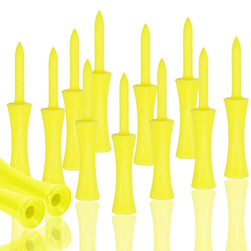 Golf Tees Plastic Yellow Castle Small Long Step Down Unbreakable Reusable Value 30 Pack Tee Professional Height Control 2 34 2 14 21 341 12 1 14 inch Bulk 30 Pack 1 34 in Yellow