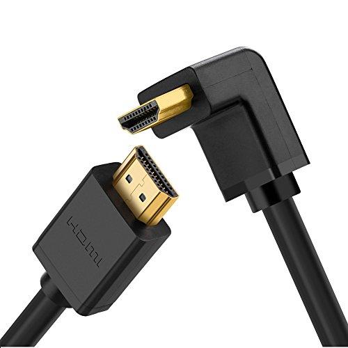 UGREEN HDMI Kabel HDMI 90 Grad Kabel Stecker zu Stecker mit Ethernet für UHD, 4k&3D, 1080P, ARC, kompatible mit Blue-ray Playern, 3D Television, HDTV, Xbox360, PS3, PS4 usw Schwarz (3m)