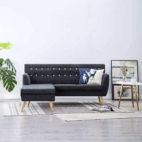 Festnight- Sofa L-Form | 3-Sitzer Sofa | 3er Stoff Couch | Wohnzimmer Stoffsofa | Loungesofa | Eckcouch Ecksofa | Dunkelgrau/Braun/Orange/Grün/Hellgrau/Blau Stoffbezug 171,5 x 138 x 81,5 cm