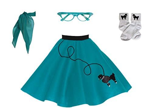 Hip Hop 50s Shop Child 4 Piece Poodle Skirt Costume Set (Teal, Large)