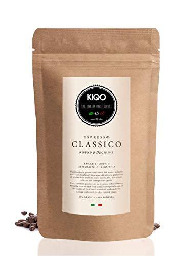 KIQO Classico 250g Espresso aus Italien in schonenden Kleinstchargen geröstet | säurearm | 35% Arabica & 65% Robusta Bohnen (250g - ganze Bohnen)