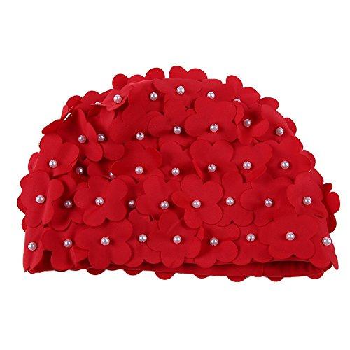 Wingbind Frauen Mädchen Damen Badekappe, Floral mit Handgemachten Perlen Schwimmen Hat Bade Hut für Lange Kurze Haare Breathable Bequeme Trocken Schnell