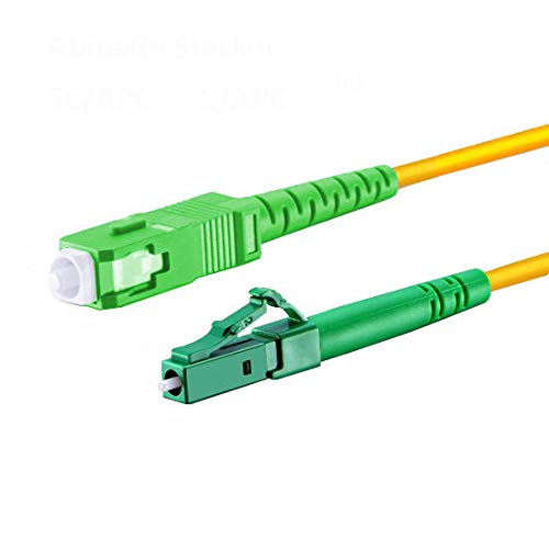 LWL Glasfaser-Kabel – 3m OS2 gelb, LC/APC auf SC/APC Stecker, Simplex 9/125 Patchkabel – Lichtwellenleiter 3 Meter G.657.A2