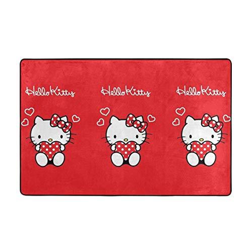 Alfombra antideslizante grande de Hello Kitty rojo Love Cartoon alfombra de salón alfombra alfombra piso felpudo 60 x 39 pulgadas