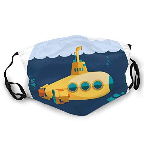 AISIJD Reutilizable y lavable, ilustración de un submarino bajo el mar peces y nubes, para ciclismo, camping, viajes, talla única.