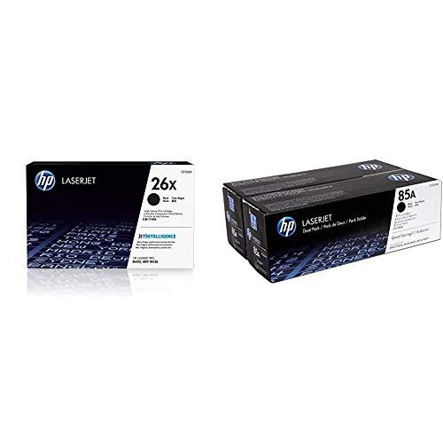 HP 26X CF226X, Negro, Cartucho Tóner de Alta Capacidad Original, de 9.000 páginas, para impresoras Laserjet Pro Serie M402 y M426 + CE285AD 85A Cartucho de Tóner Original, 2 Unidades, Negro