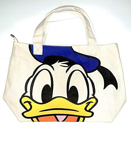 Women Canvas Tote Bag Boho Cartoon Duck Multicolor Blue White Shopping Bag Shoulder Bag-New