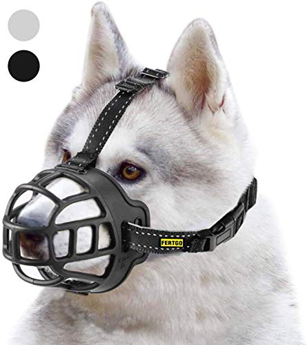 fertgo Soft Breathable Basket Silicone Dog Muzzles for Small, Medium and Large Dogs, Adjustable, Anti-Barking and Anti-Chewing, Allow Dog Safe Walking,2-Black