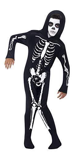 Smiffys-55012M Disfraz de Esqueleto, con Traje Entero con Capucha, Color Negro, M-Edad 7-9 años (Smiffy