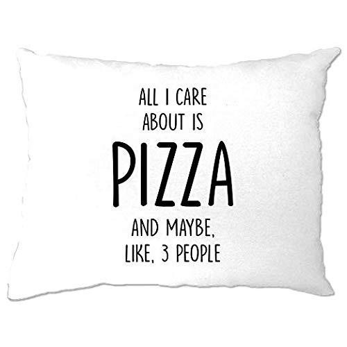 Odeletqweenry grappige kussensloop slaapkamer alles wat ik zorg over is pizza en als 3 mensen Slogan eten honger kaas Pepperoni Toppings Cool grappig cadeau aanwezig gooien kussensloop 12 X 16 Inch Home Decor
