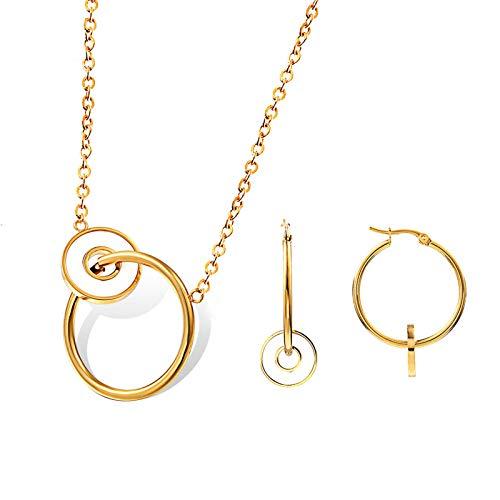 ANAZOZ Damen Sets Zweiteilige Halskette und Ohrringe Schmuck Set Damen Doppelte Ringe Edelstahl Gold Juwelen Spiel
