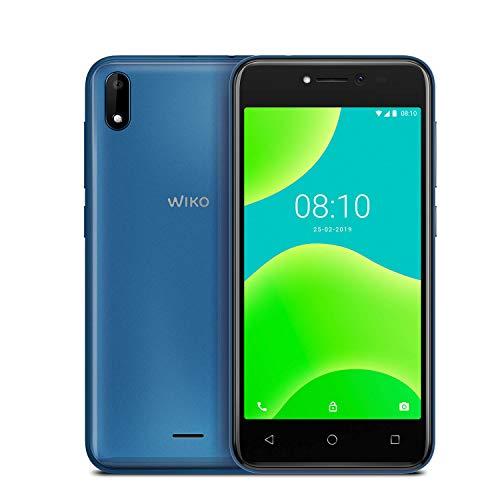 """WIKO Y50 + Carcasa - Smartphone de 5"""" (Dual SIM, 16GB de ROM ampliables, cámaras de 5MP con flash selfie, Quad-Core 1,3GHz, 1GB RAM, modo fácil de uso) Azul"""