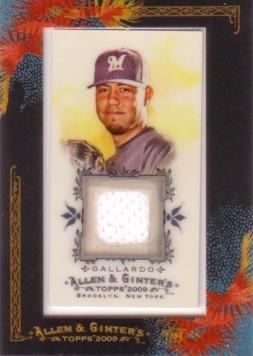 2009 Topps Allen & Ginter Relics #AGR-YG Yovani Gallardo Game Worn Jersey Baseball Card