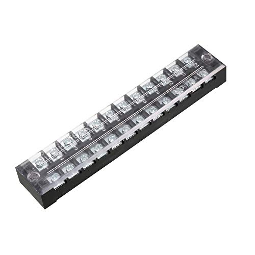 uxcell a13052800ux0615 600V 25A Double Rows 12P 12 Positions Covered Barrier Screw Terminal Block