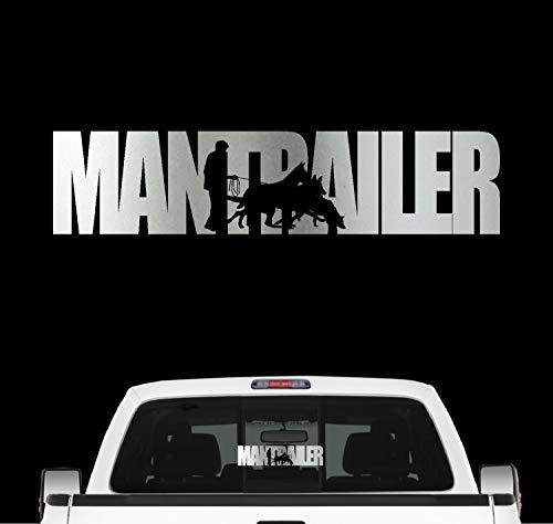 siviwonder Mantrailer Hundesport Auto Aufkleber Hund Folie Rettungshund Suchhund Farbe Silber Metallic, Größe 20cm