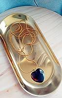 Collar con colgante de corazón de cuarzo ahumado hecho a mano en cadena larga de cobre chapado en oro