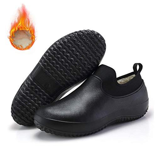 SUNNFLOOWER Zapatos de Chef Profesionales Antideslizantes, Zapatos de Seguridad de Cocina Unisex, Botas de Trabajo con Forro de Invierno y Resistentes a Terciopelo, a Prueba de Aceite (Negro,42)