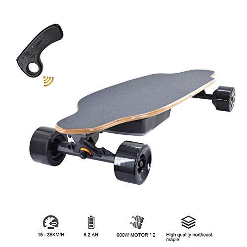 XLY Elektrisch skateboard, esdoornhout dek, longboard met maximumsnelheid 35 km/u en tot 18 – 25 km bereik, afstandsbediening, skateboard voor jongeren, volwassenen