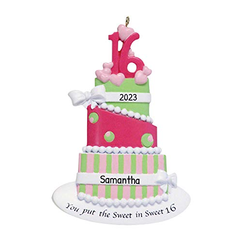 Personalized Sweet Sixteen Christmas Tree Ornament 2020 - You Put The Pink Heart Cake Ribbons 16th Birthday Youth Puberty Celebration Teen Milestone Party Year - Free Customization