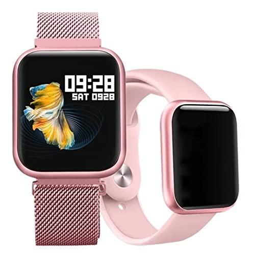 Relógio Smartwatch P70 Original Rose e Preto com 2 Pulseiras (aço e borracha) (Preto)