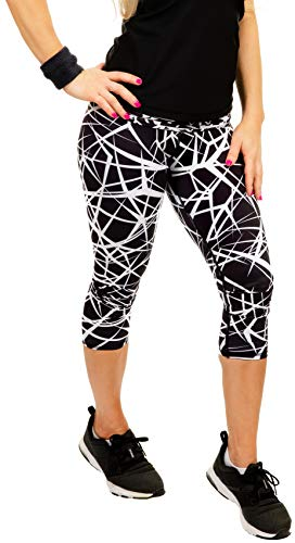Womens Compression Capri Leggings - Tights for Running, Yoga, Working Out - High Waisted, Body Slimming Pants
