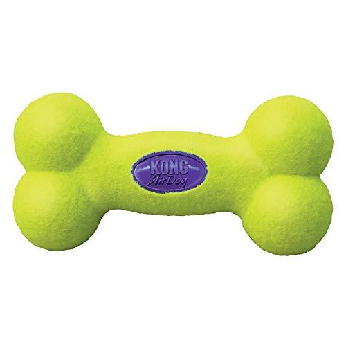 KONG – AirDog Squeaker Bone – Quietschendes, Federndes Apportierspielzeug aus Tennisballmaterial – Für Mittelgroße Hunde