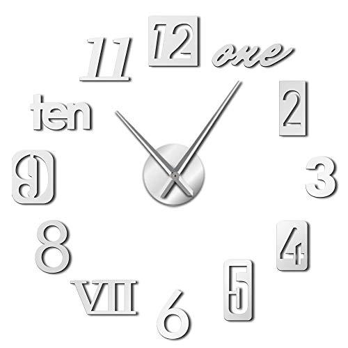 VCS Estilos de números Mixtos Inglés Arabia Números Romanos Reloj de Pared Grande y Moderno Números de Efecto de Espejo acrílico Pegatinas DIY Arte de Pared Gigante(Plata,120CM)