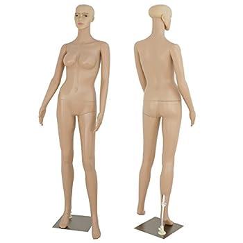 ZENY Full Body 68.9  Height Realistic Female Mannequin Display Head Turns Dress Form w/Base Detachable Plastic Slapped Adjustable Dressmaker Dummy Standing Adult Plastic Mannequin