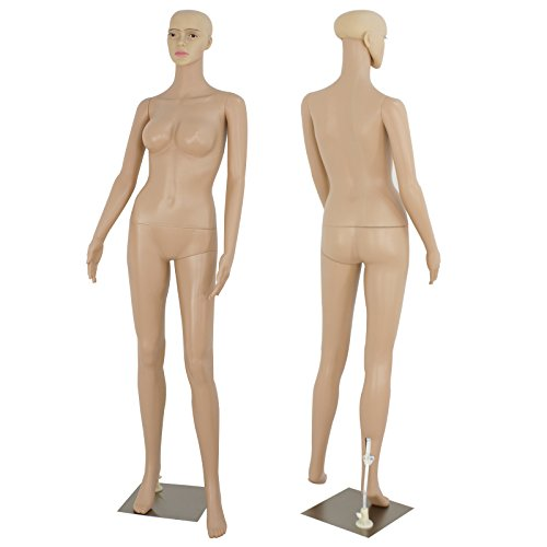 ZENY Full Body 68.9' Height Realistic Female Mannequin Display Head Turns Dress Form w/Base, Detachable Plastic Slapped Adjustable Dressmaker Dummy Standing Adult Plastic Mannequin