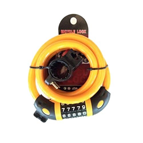 Security Bike Lock | 5-Digit Combination Lock with Galvanized Steel Cable for Road, Mountain Or BMX Bicycle(Orange)