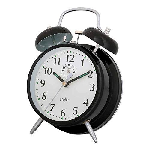 Acctim 12623 Saxon Black Alarm Clock by