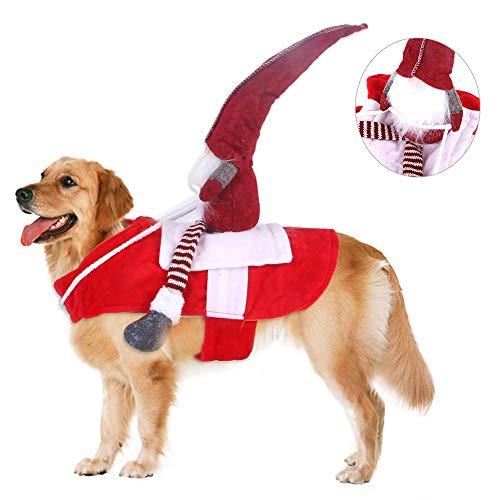 PAPIEEED Disfraz de jinete de elfo para perros y gatos, ropa de almuerzo divertida para Halloween | Navidad, poncho para mascotas