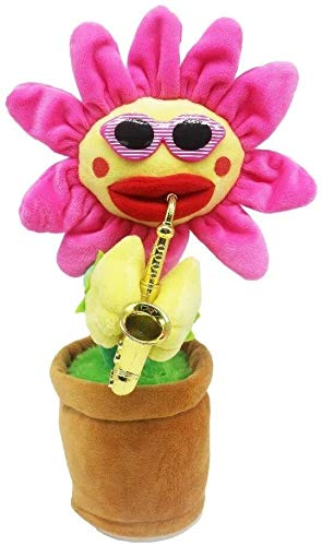 Knuffels SingingDancing Flower Betoverende Zonnebloem met saxofoon Lighting Gevulde Knuffels Funny elektrisch aangedreven speelgoed Kids dljyy