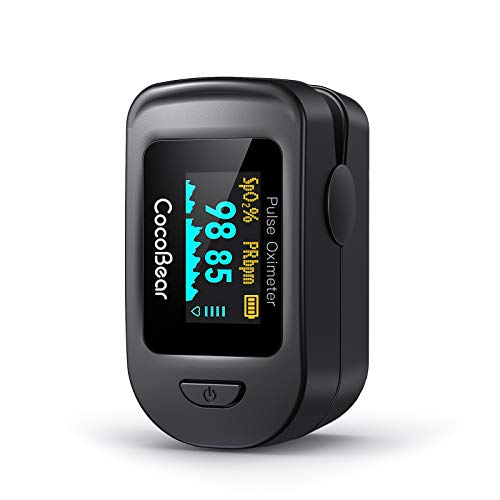 Pulsossimetro da Dito Professionale CocoBear Saturimetro, Cardiofrequenzimetro Portatile con Display Oled, la Misurazione del Polso (Pr) e Della Saturazione di Ossigeno (Spo2) Ossimetri
