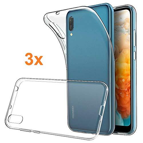 REY - 3X Funda Carcasa Gel Transparente para Huawei Y6 Pro 2019 / Y6 2019, Ultra Fina 0,33mm, Silicona TPU de Alta Resistencia y Flexibilidad