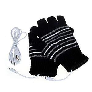 USB接続で加熱 暖か手袋 作業 PC 冬 防寒対策 洗える USBヒーター内蔵 快速加熱 手袋 指先 温かい 男女兼用(ブラック)
