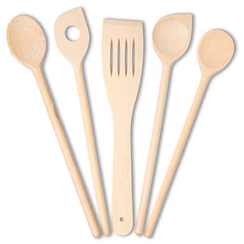 KO&CO Küchenhelfer Set aus unbehandeltem heimischen Buchenholz, in Handarbeit hergestellt, 30 cm, verschiedene Küchenhelfer aus robustem und langlebigem Hartholz, Kochlöffel, Pfannenwender, Kochen (5)