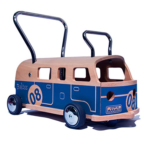 3-in-1 Loopwagen en Loopauto MAAMUU Balòss 8 Blauw, hout en roestvrij staal Made in Italy