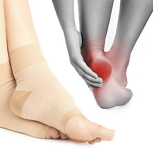 Premium Kompressionssocken lindern Fersensporn, Plantarfasciitis und Fuß Schmerzen - Fersensporn Socken beige
